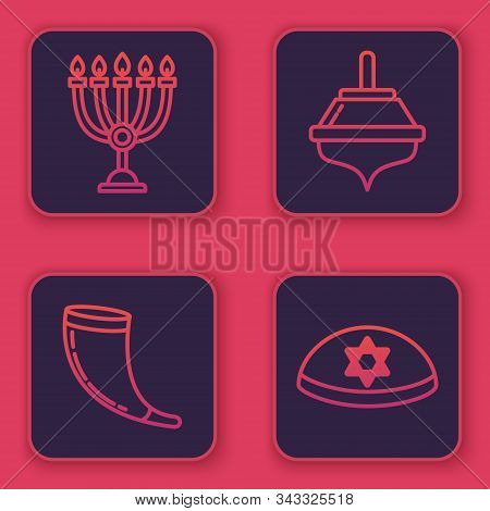 Set Line Hanukkah Menorah, Traditional Ram Horn, Shofar, Hanukkah Dreidel And Jewish Kippah With Sta