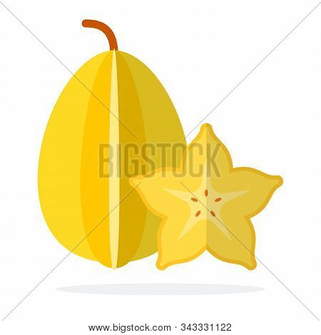 Whole Carambola And Carambola In Section Flat Isolated