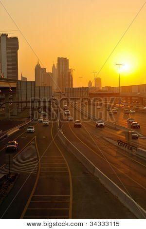 traffic jam in big city at sunset