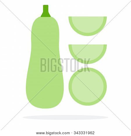 Zucchini Upright, Round Slice Of Zucchini And Two Wedges Of Zucchini Vector Flat Isolated