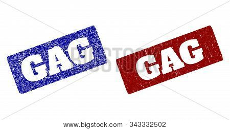 Flat Vector Gag Rubber Imitations With Grunge Surfaces. Rounded Rectangle Seal Stamps. Red And Blue