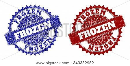 Round Frozen Stamps. Blue And Red Scratched Stamps With Frozen Phrase Inside Round Rosette. Flat Vec