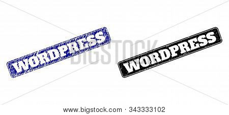 Rounded Rectangle Wordpress Seal Stamps. Black And Blue Grunge Seal Stamps With Wordpress Title Insi