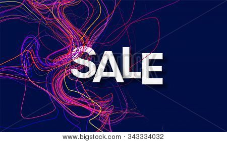 Concept Discounts Sale Banner. Modern Design Template Sale Banner With Color Line Twist On Black Bac