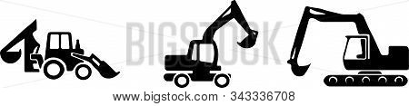 Excavator Icon Isolated On White Background Wheel, Work