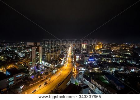 Prishtina, Kosovo - November 11, 2016: Night View Of The Bill Clinton Boulevard And George W Bush Bo