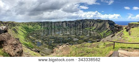 Panoramic View Of The Edge Of The Rano Kau Crater In Easter Island