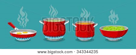 Cooking Pot And Pan On Gas Stove. Boiled Water In Pots, Pasta In Saucepan And Scrambled Eggs In Drip