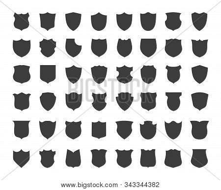 Heraldic Shield Silhouettes. Blank Vintage Shields Shape Icons For Secure Labels Or Heraldic Emblems