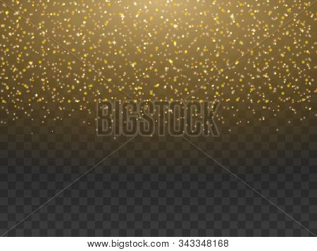 Gold Dust, Sparkle Powder Isolated On Transparent Background. Shiny Sparkling Golden Yellow Magic Fa