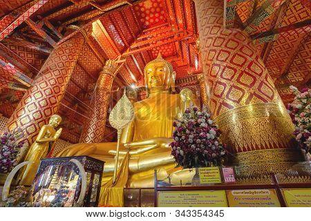 Ayuthaya, Thailand - November 29, 2019: The Great Buddha Statue Named Luang Pho Tho In Wat Phanancho