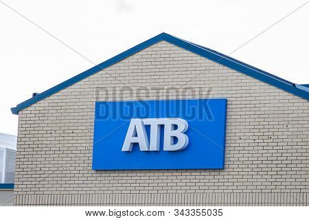 Calgary, Alberta. Canada Jan 4 2020: Sign Of An Alberta Treasury Branches, Doing Business As Atb Fin