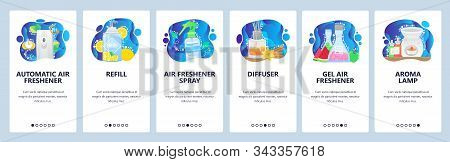 Aroma Diffuser, Automatic Air Freshener, Aroma Lamp, Spray. Mobile App Onboarding Screens. Menu Vect