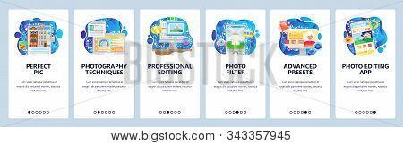 Photo Editor Software, Smartphone Application, Photo Filter. Mobile App Onboarding Screens. Menu Vec