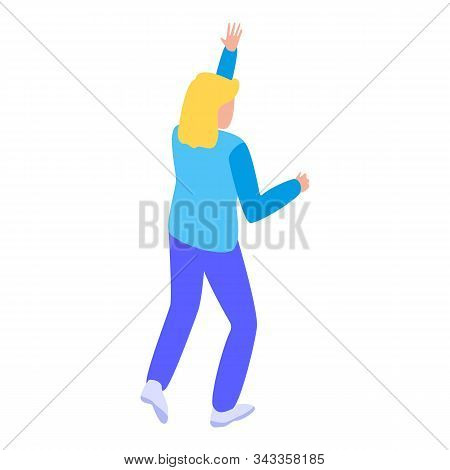 Running Away Tsunami Icon. Isometric Of Running Away Tsunami Vector Icon For Web Design Isolated On