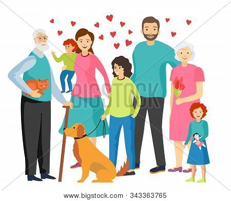 Family Happiness. Happy Family Together. Elderly, Mom, Dad, Children Characters. Family With Pets Ve