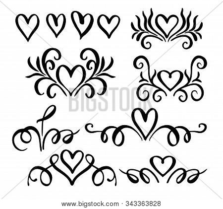 Wedding Vignettes. Romantic Vignettes. Vector Collection Of Hand Drawn Borders In Sketch Style. Hear