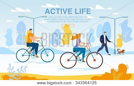 Happy Business People Riding Bikes Active Life Poster. Cycle To Work Day. Office Workers Cycling Out