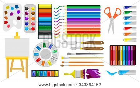 Painter Art Tools. Art Supplies Easel, Canvas, Paint Tubes, Brushes And Draw Materials
