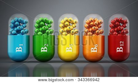 Various Vitamin B Pills Isolated On White Background. 3d Illustration.