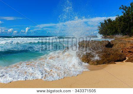 Rocky Coast At The North Shore Of Oahu, Hawaii