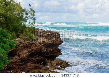 Rocky Coast At Turtle Beach On Oahu, Hawaii