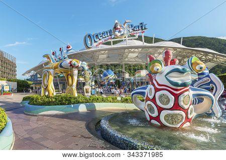 Hong Kong, China - July 24, 2019 : Colorful Sculpture At The Main Entrance Of Ocean Park Hong Kong.