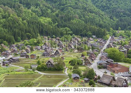 Historical Village Of Shirakawa-go. Shirakawa-go Is One Of Japan's Unesco World Heritage Sites Locat