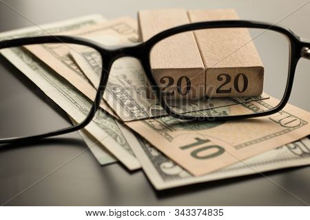 Tax Planning Concept 2020 For Business, Finance, Banking, Budgeting, Economic Topics. Glasses, Numbe