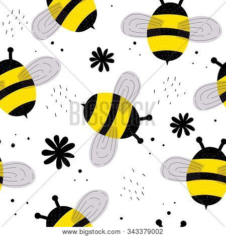 Seamless Pattern With Cartoon Bumblebees, Decor Elements. Flat Colorful Vector. Hand Drawing For Kid