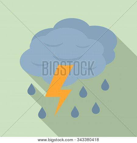 Thunderstorm Cloud Icon. Flat Illustration Of Thunderstorm Cloud Vector Icon For Web Design