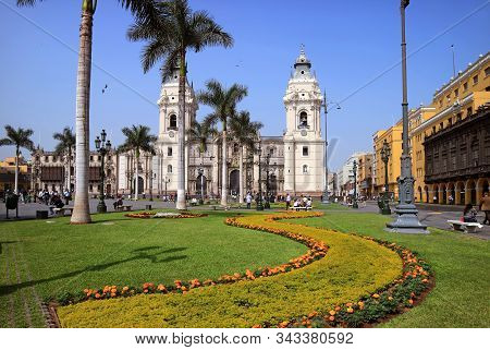 Basilica Cathedral Of Lima, The Landmark On Plaza Mayor Square In Lima, Peru, South America, 19th Ma