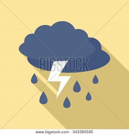 Weather Thunderstorm Icon. Flat Illustration Of Weather Thunderstorm Vector Icon For Web Design