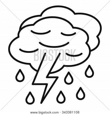 Thunderstorm Cloud Icon. Outline Thunderstorm Cloud Vector Icon For Web Design Isolated On White Bac
