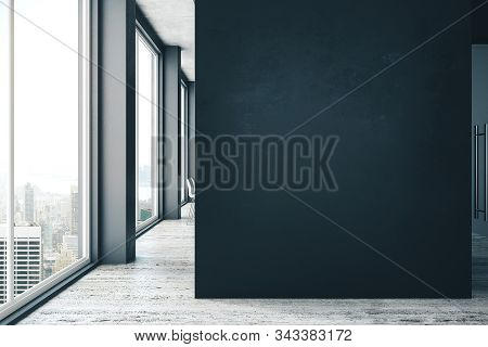 Modern Office Interior With Copy Space On Gray Wall, Daylight And City View. Mock Up, 3d Rendering