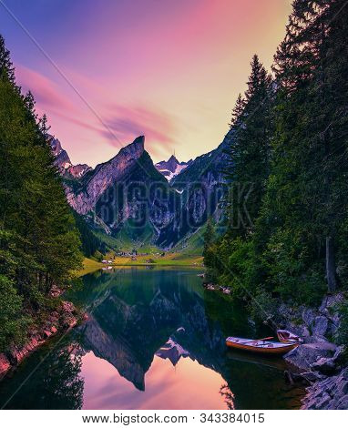 Sunset Over The Seealpsee Lake And The Grenzchopf Mountain In The Appenzell Region Of Swiss Alps, Sw