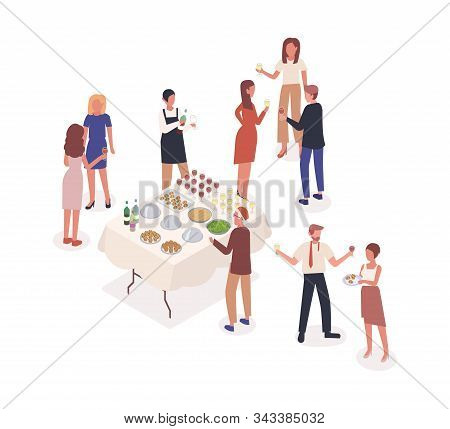Social Event, Stand-up Meal Isometric Vector Illustration. Corporate Party, Soiree, Celebration. Mal