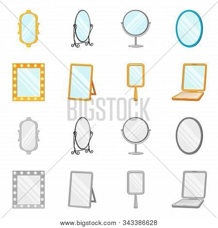 Vector Illustration Of Reflect And Piece Symbol. Set Of Reflect And Furniture Vector Icon For Stock.