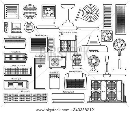 Air Ventilator Line Vector Set Icon.vector Illustration Icon Of Ventilator Equipment.isolated Line S