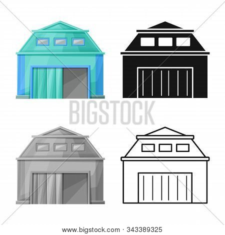 Vector Illustration Of Warehouse And Hangar Icon. Graphic Of Warehouse And Granary Vector Icon For S