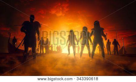 Vikings With Ships Before Orange Fire Background. 3d Render Illustration.