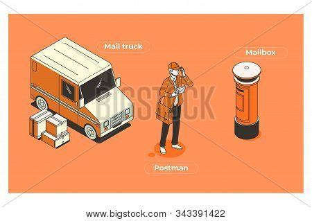 Vector Character Postman. Illustrations Of Postman Equipment. Set Of Cartoon Professions
