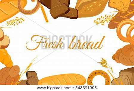 Banner With Bakery Products. Wheat, Rye And Whole Grain Bread. Pretzel And Bagel, Ciabatta And Muffi
