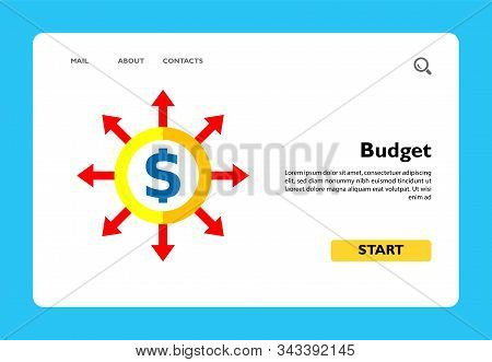 Multicolored Vector Icon Of Dollar Sign In Circle With Diverging Arrows Representing Budget