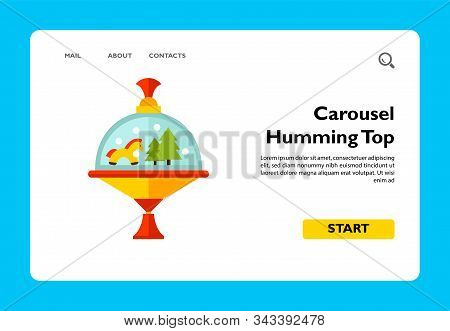 Multicolored Vector Icon Of Carousel Humming Top With Horse And Fir Trees Inside