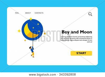 Illustration Of Young Male Character Holding Rope That Hanging From Moon. Boy And Moon, Night, Cresc