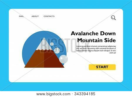 Avalanche Down Mountain Side. Peak, Danger, Snow. Mountain Concept. Can Be Used For Topics Like Geol