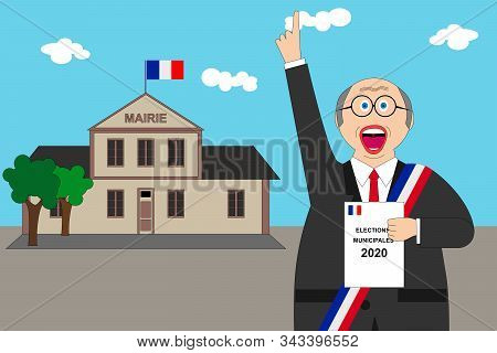 French Municipal Elections. Illustration Text: Municipal Election (in French)