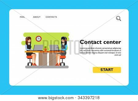 Icon Of Contact Center Workplace. Businesswomen, Operators, Desk. Contact Center Concept. Can Be Use