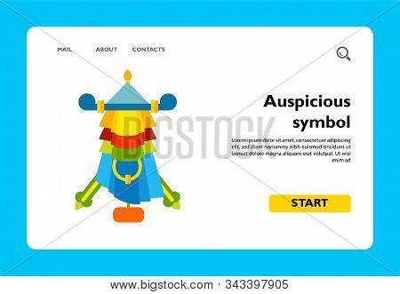 Multicolored Vector Icon Of Auspicious Symbol Parasol